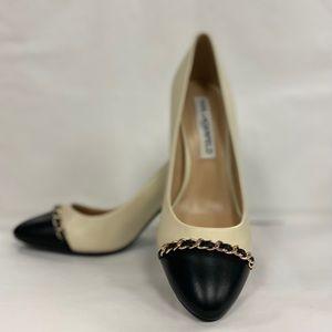 KARL LAGERFELD Jaden Cap Toe Leather Heels 7.5